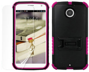 PINK TRI-SHIELD CASE COVER STAND SCREEN PROTECTOR FOR MOTOROLA MOTO-X 2nd GEN