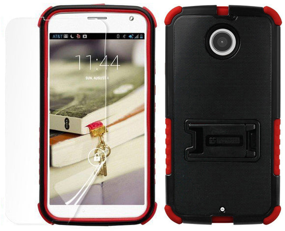 RED TRI-SHIELD CASE COVER STAND SCREEN PROTECTOR FOR MOTOROLA MOTO-X 2nd GEN