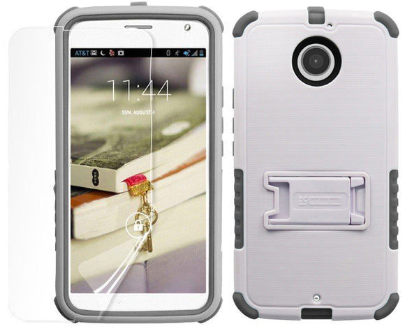 WHITE GRAY TRI-SHIELD CASE STAND SCREEN PROTECTOR FOR MOTOROLA MOTO-X 2nd GEN