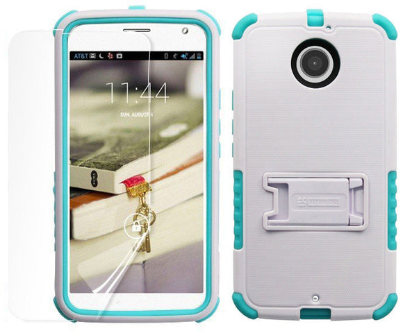 TURQUOISE TRI-SHIELD CASE STAND SCREEN PROTECTOR FOR MOTOROLA MOTO-X 2nd GEN