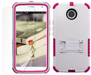 WHITE PINK TRI-SHIELD CASE STAND SCREEN PROTECTOR FOR MOTOROLA MOTO-X 2nd GEN