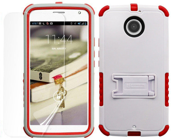 WHITE RED TRI-SHIELD CASE STAND SCREEN PROTECTOR FOR MOTOROLA MOTO-X 2nd GEN