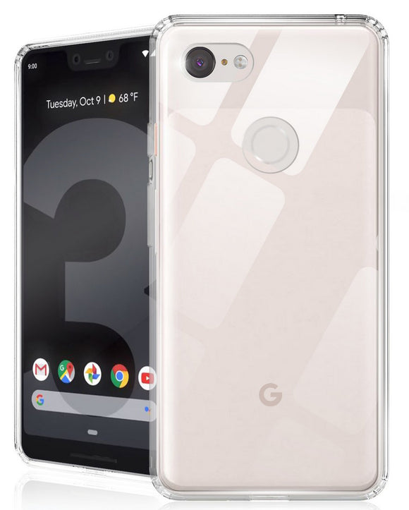 AquaFlex Anti-Shock Clear Case Cover Transparent Hard Back for Google Pixel 3 XL