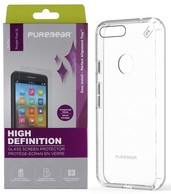 PureGear Clear Case Cover + Tempered Glass Screen Protector for Google Pixel XL