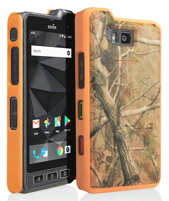 Orange Camo Leaf Tree Real Woods Kickstand Case Cover for Sonim XP8 (XP8800)