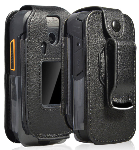 Black Vegan Leather Form-Fit Case Cover with Belt Clip for Sonim XP3 XP3800