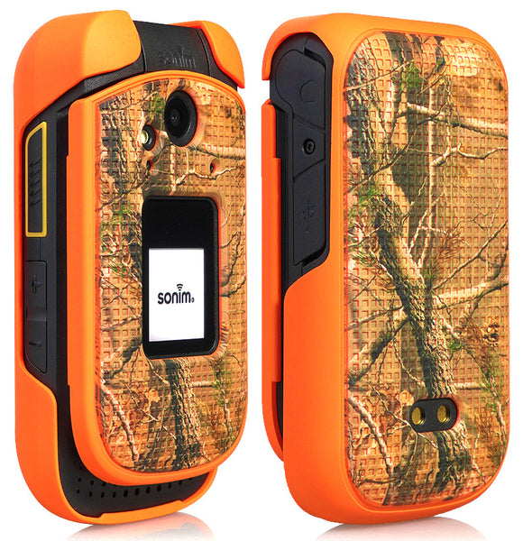 Orange Outdoor Camo Tree Real Woods Case Slim Cover for Sonim XP3 (XP3800)