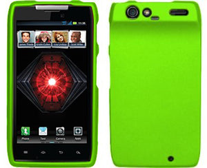 LIME GREEN RUBBERIZED HARD SHELL CASE COVER FOR MOTOROLA DROID RAZR