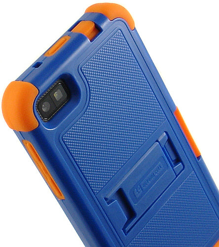 BLUE ORANGE TRI-SHIELD RUBBER HARD CASE STAND SCREEN SAVER FOR BLACKBERRY Z10
