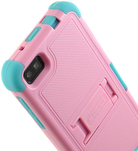 PINK AQUA TURQUOISE TRI-SHIELD RUBBER CASE STAND SCREEN SAVER FOR BLACKBERRY Z10