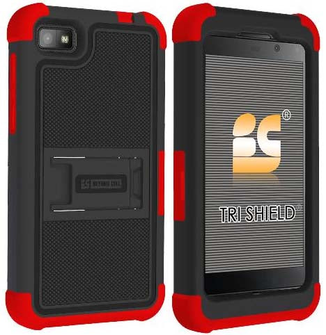RED BLACK TRI-SHIELD SOFT RUBBER HARD CASE STAND SCREEN SAVER FOR BLACKBERRY Z10
