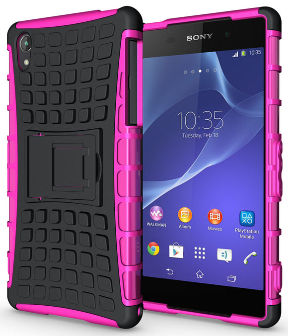 PINK GRENADE GRIP RUGGED TPU SKIN HARD CASE COVER STAND FOR SONY XPERIA Z2 PHONE