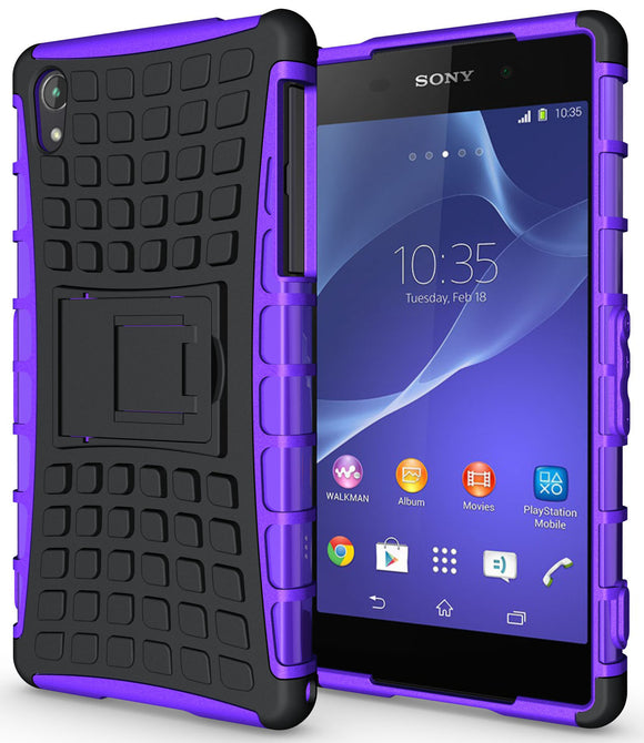 PURPLE GRENADE GRIP RUGGED TPU SKIN HARD CASE COVER STAND FOR SONY XPERIA Z2