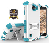 WHITE TURQUOISE TRI-SHIELD CASE COVER STAND FOR LG OPTIMUS ZONE-3 / K4 / SPREE