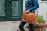 Pablo - Tan Minimalist Leather Messenger Bag