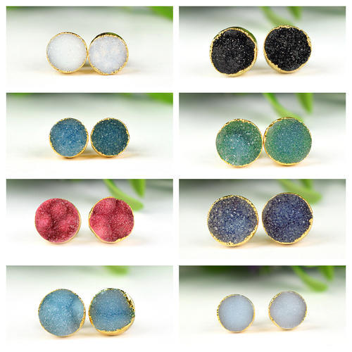 Druzy Stud Earrings 24K Gold