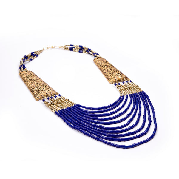 Royal Blue and Golden Bead Tribal Necklace
