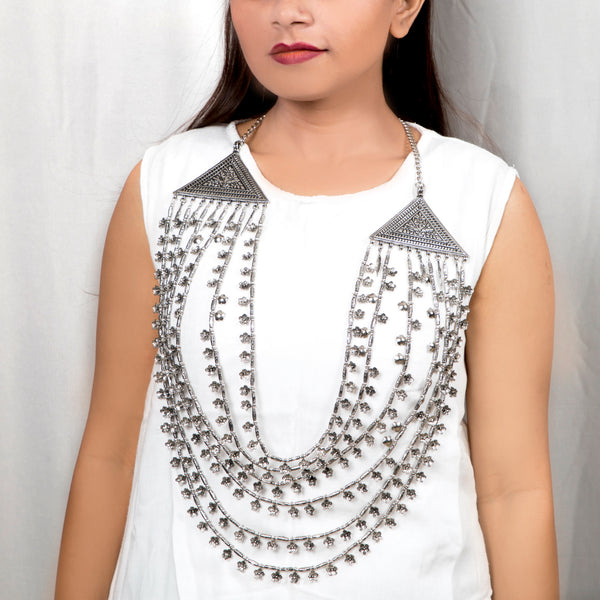 Tribal Silver Bead Necklace Multi Layered | Waist Belt