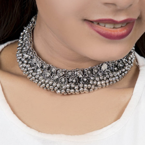 Silver Ghunghroo Choker | Tribal Necklace