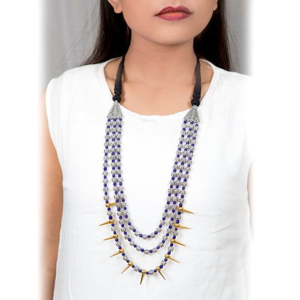 Tribal Blue Beaded Long Necklace | Multi Layered/Strand