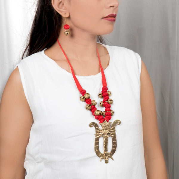 Golden Durga Devi Pendant Necklace-Earrings