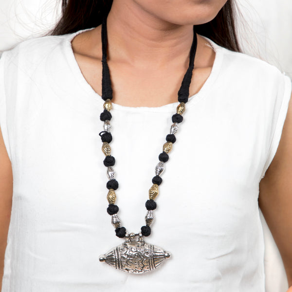 Amulet Necklace | Taweez With Beads-Black String