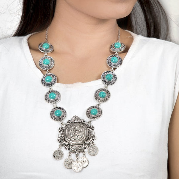 Tribal Long Silver Necklace-Turquoise Stones