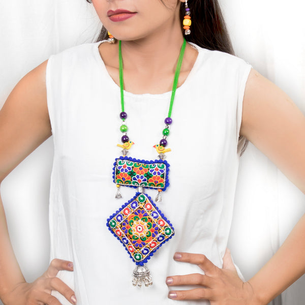 Royal Blue Banjara Embroidery Necklace