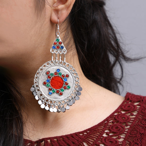 Afghani Silver Colour Earrings (Lite weight)