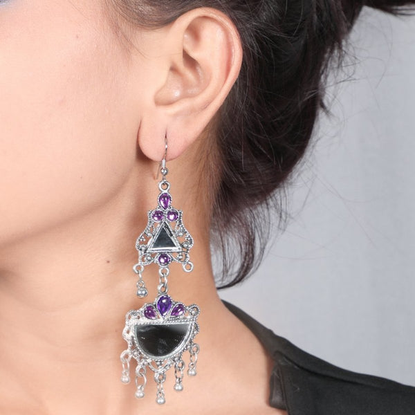 Stone Mirror Earrings (4 Colour available)