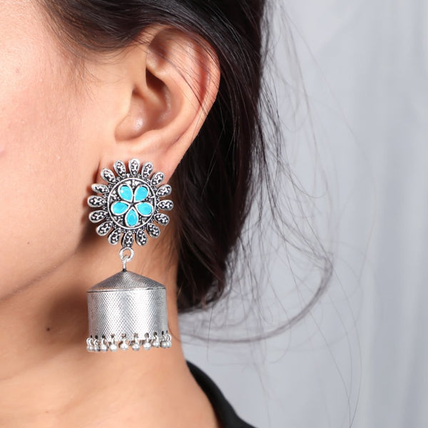 Jhumkas With Floral Sky Blue Stone