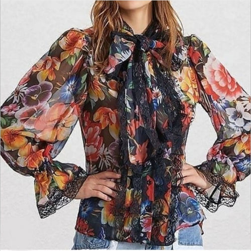 Digital color printed lace stitching trumpet long sleeve shirt shirt women