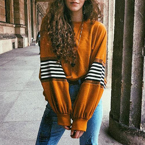 Casual Round Neck Stripe Sweatshirt