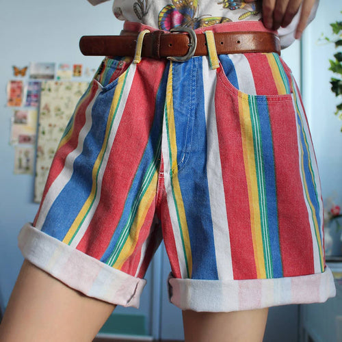 Women's Fashion Colouring Striped Shorts
