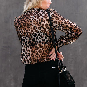 Sexy casual chiffon printed leopard blouse