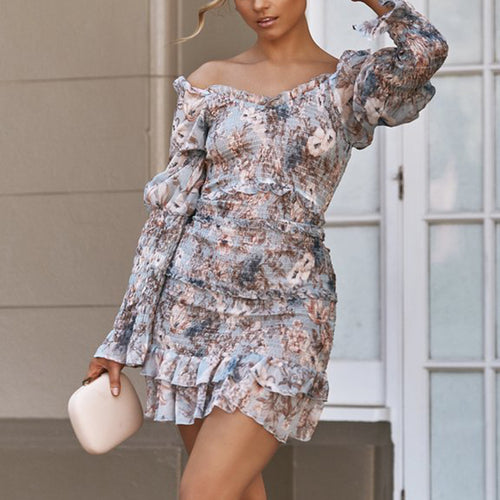 Sexy Boat Neck Ruffled Floral Pattern Elastic Dress