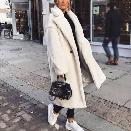 Casual Solid Color Long Sleeves Overcoat