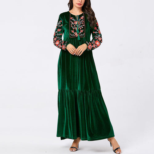 Fashion womens long sleeved loose embroidered tassel dress