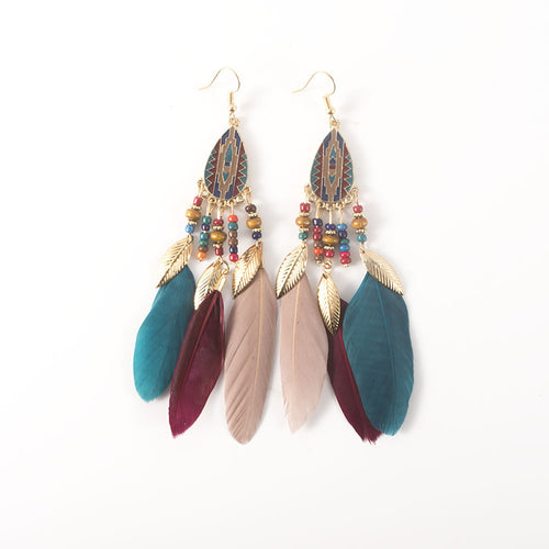 Vintage Beads Tassel Long Leaf Feather Earrings