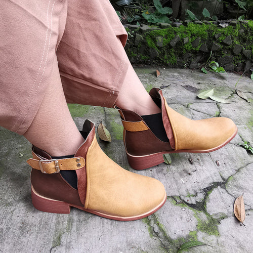 Women's colorblock buckle low heel boots