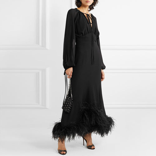 Ladies fashion stitching feather long sleeve dress