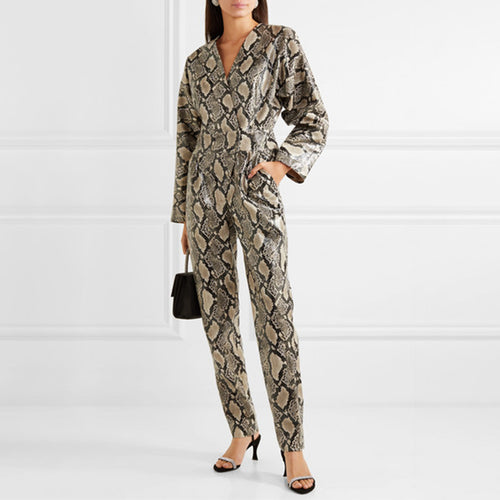 Fashion Long Sleeve Skew Collar Snakeskin Jumpsuit