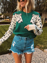 Load image into Gallery viewer, Fashion Round Neck Leopard Print Long Sleeve Sweater