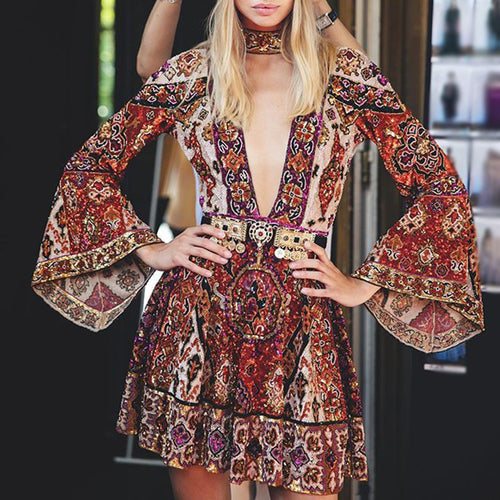 Women Fashion V-Neck Print Long Sleeve Dress