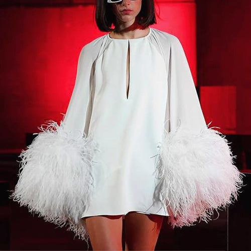 Elegant Round Neck White Long Sleeve Splicing Feather Dress