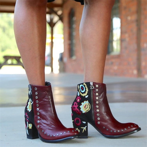 Women's rivet embroidered pointed thick heel boots
