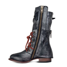 Load image into Gallery viewer, Vintage Women Lace-Up Side Zipper Faux Leather Boots