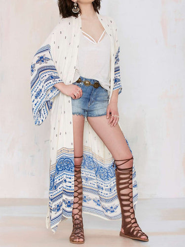 Casual Chiffon Printed Colour Beach Cardigan Cover Up