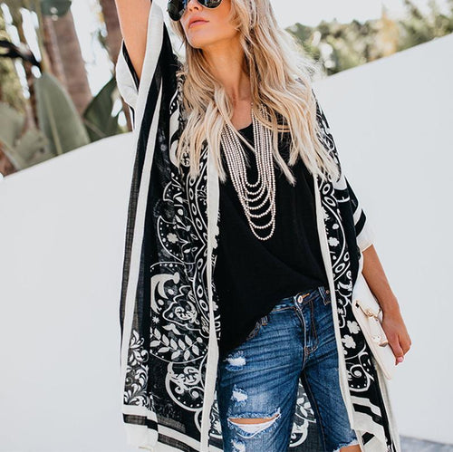 Fashion Printed Colour Loose Long Blouse Outerwear