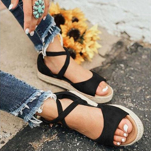 Summer Plain Open Toed Thick Soled Sandal